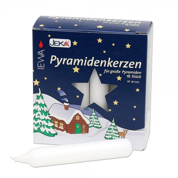 18er Pyramidenkerzen, weiß 1,8 x 1,8 x 10,5 cm