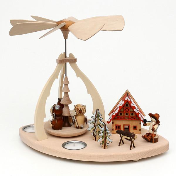 Holz Tischpyramide mit Szene Eulenwald für 3 Teelichte 32 x 19,5 x 25 cm