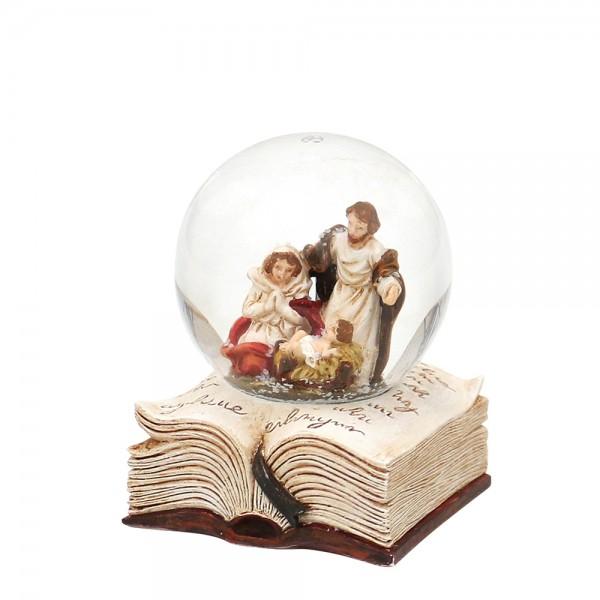 Polyresin Schneekugel Heilige Familie auf Buch 5 x 5 x 6,5 cm Ø 4,5 cm