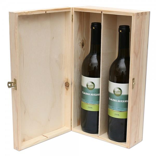 Holz Weinkiste für 2 Flaschen mit Scharnier, natur 20 x 10 x 35 cm