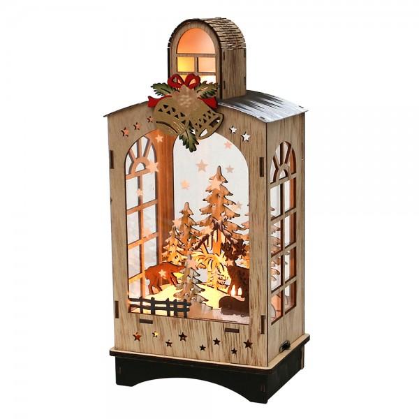 Holz Laterne Winterwald verschneit 15 x 11 x 31 cm Batteriebetrieb AA, LED, Sound