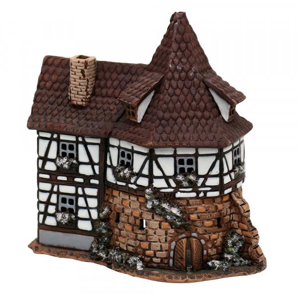 Keramik Licht-Duftölhaus (in Schornstein) Fachwerkhaus 13,5 x 8,5 x 14 cm