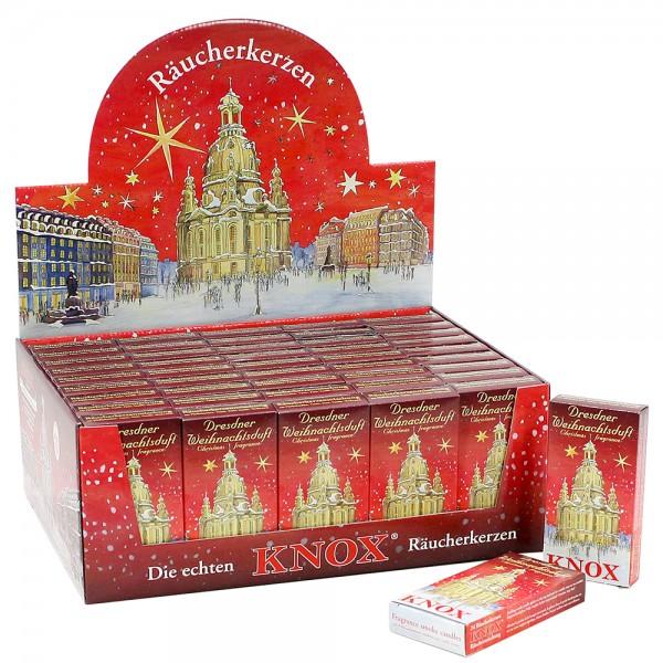 50er Set KNOX-Räucherkerzen Dresdner Weihnachtsduft im Display, rot 34 x 25 x 13 cm