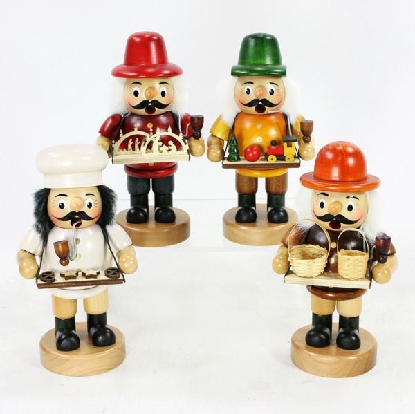 Holz Räuchermann groß mit Bauchladen 4-fach sort. 9,5 x 8 x 19 cm im Set