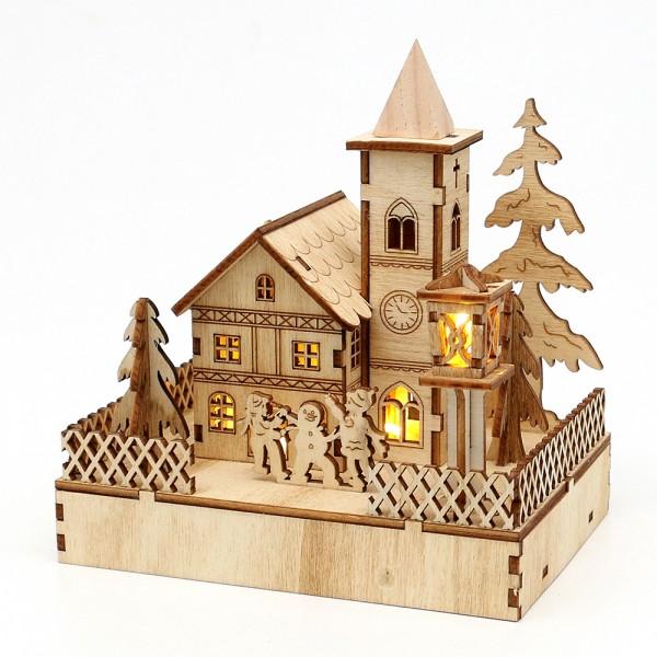 Holz Landschaftsszene mit Kirche und spielenden Kindern 14,5 x 9,5 x 13 cm Batteriebetrieb AAA, LED