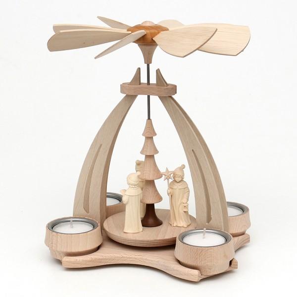Holz Tischpyramide mit 3 Kurrendesängern aus Südtirol für 4 Teelichte 14 x 18 x 24 cm