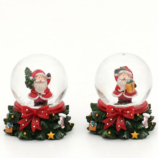 Polyresin Schneekugel mit Weihnachtsmann auf Baumsockel 2-fach sort. 6,5 x 5,5 x 5,5 cm Ø 4,5 cm im Set