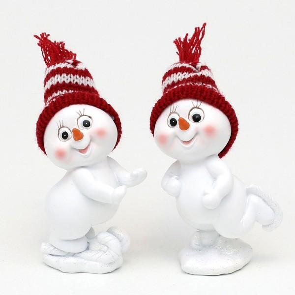 Polyresin Schneekinder mit Strickmütze rot/weiß mit Schlittschuh 2-fach sort. 6,5 x 5 x 10 cm im Set