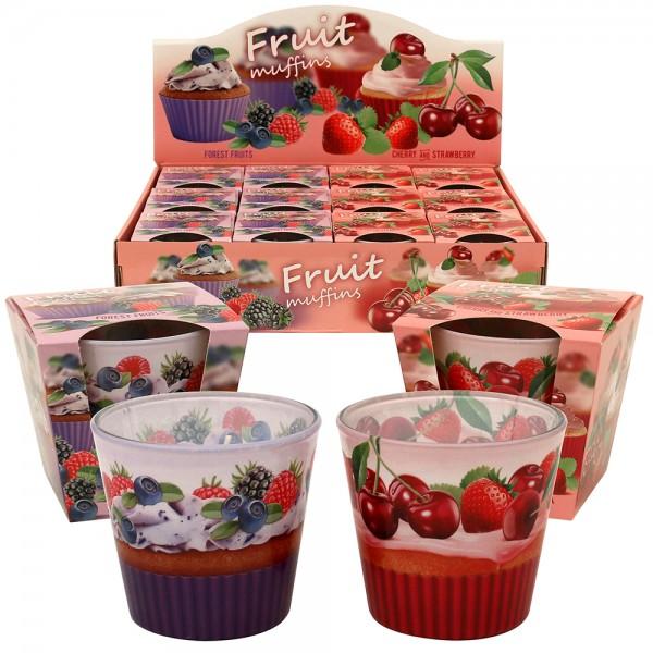 Duftglas Fruit muffins Forest Fruits + Cherry and Strawberry GLX-FM/D-12 2-fach sort. 9 x 9 x 8,5 cm XL im Set