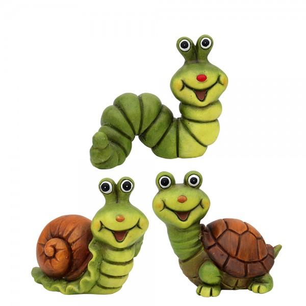 Keramik Dekofiguren Schnecke, Schildkröte, Raupe 3-fach sort. 10,5 x 7,5 x 10,5 cm im Set