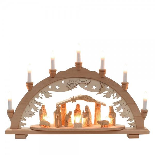 Holz Schwibbogen Krippe/Stall geschnitzt 57 x 9 x 38 cm 230 V Kabel, 10 flammig, SPK