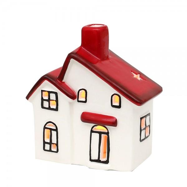 Dolomite Windlichthaus weiß/rot glasiert 10,5 x 6 x 11,3 cm