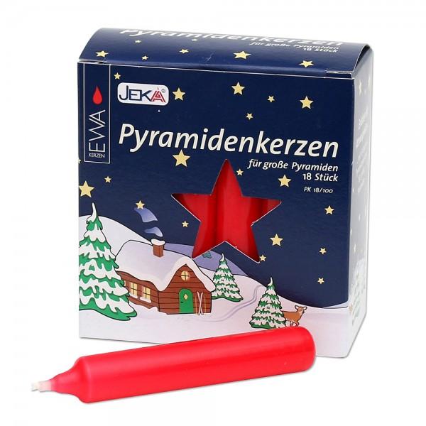 18er Pyramidenkerzen, rot 1,8 x 1,8 x 10,5 cm