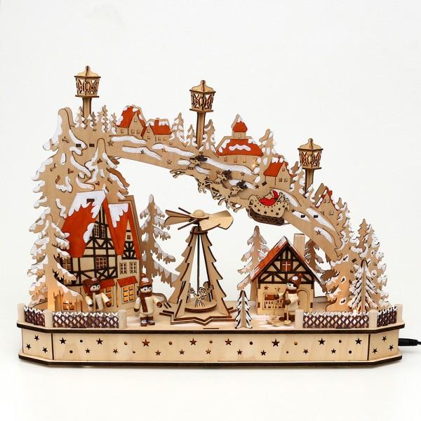 Holz Schwibbogen Weihnachtsabend mit drehender Pyramide & Schlittenkindern (Laserholz) 45 x 11 x 33 cm Batteriebetrieb AA, inkl. Adapter 4,5 V, LED, Bewegung, Sound