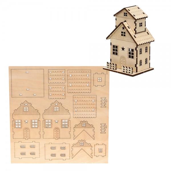 Holz Bausatz Laser-Haus (7 x 6,3 x11 cm) zum Selbstbauen 22 x 0,3 x 22 cm
