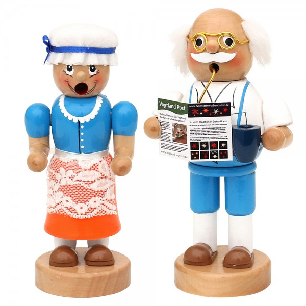 Holz Räucherfigur Oma & Opa 2-fach sort. 9 x 7 x 16,5 cm im Set
