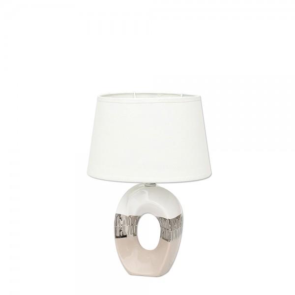 Keramik Lampe Cappuccino oval mit Loch silber/weiß 23 x 16 x 33 cm 230 V Kabel, E14