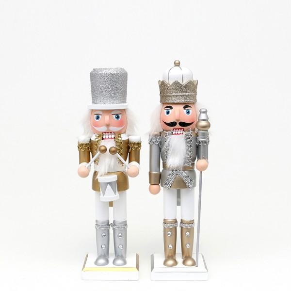 Holz Nussknacker König/Trommler mit Glitter, silber/weiß, gold/weiß 2-fach sort. 7 x 6,5 x 20 cm im Set