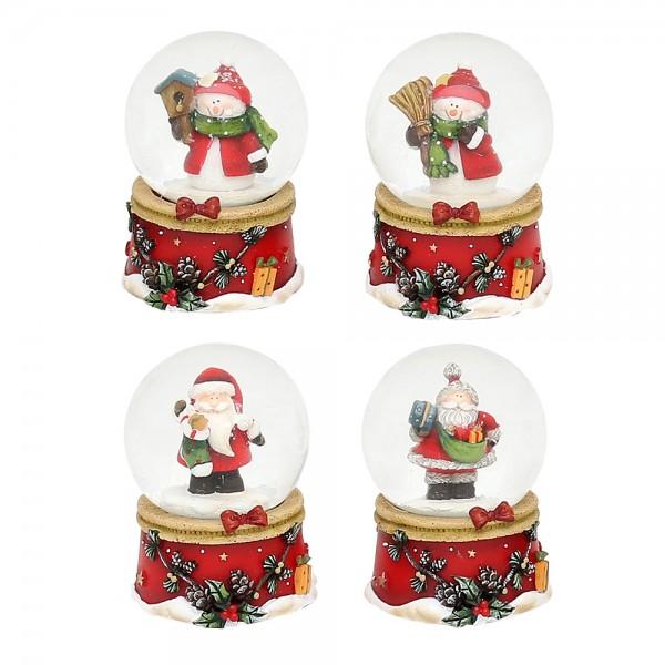 Polyresin Schneekugel roter Sockel mit Zapfengirlande mini mit Schnee-/Weihnachtsmann 4-fach sort. 4,8 x 4,8 x 6,5 cm Ø 4,5 cm im Set