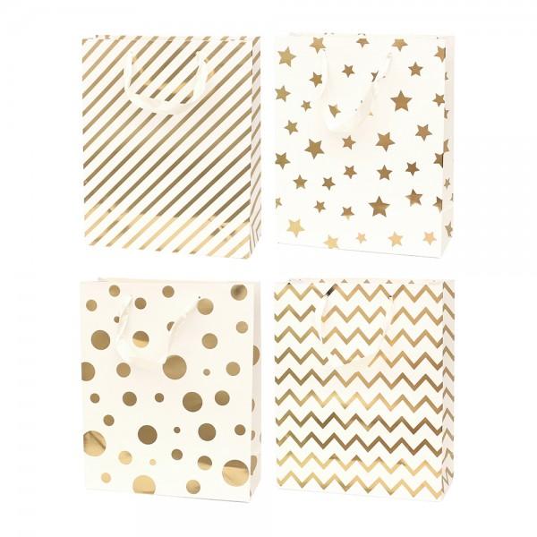 Papier Tragetasche Edel I 4-fach sort. 26 x 10 x 32 cm im Set