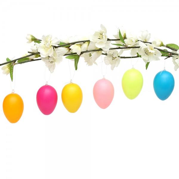 12er Set Plastik Eier mit Anhänger in Pastell-Farben, bunt 6-fach sort. 4 x 4 x 6 cm im Set