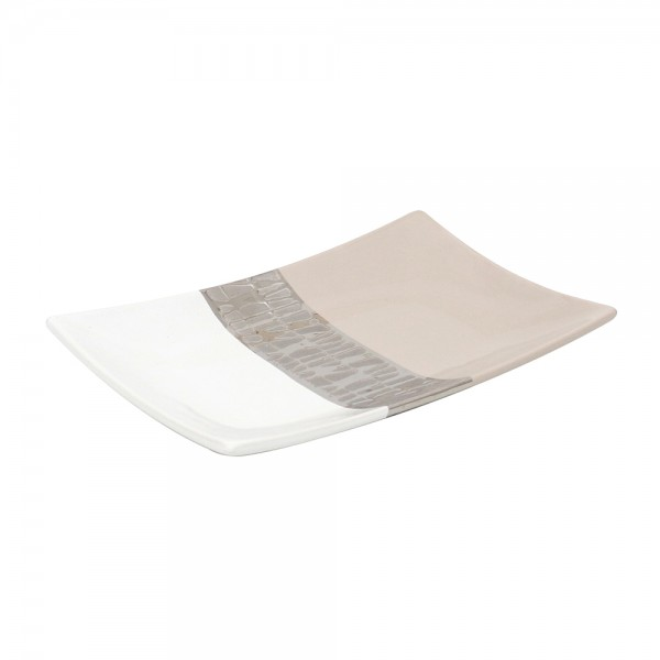 Keramik Platte Cappuccino breit silber/weiß 26 x 16,5 x 3 cm
