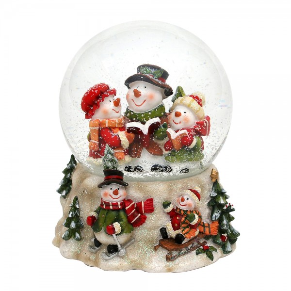 Polyresin Schneekugel Schneemannfamilie auf Schneemannsockel 13,5 x 12 x 14,5 cm Ø 10 cm Spielwerk Oh du Fröhliche