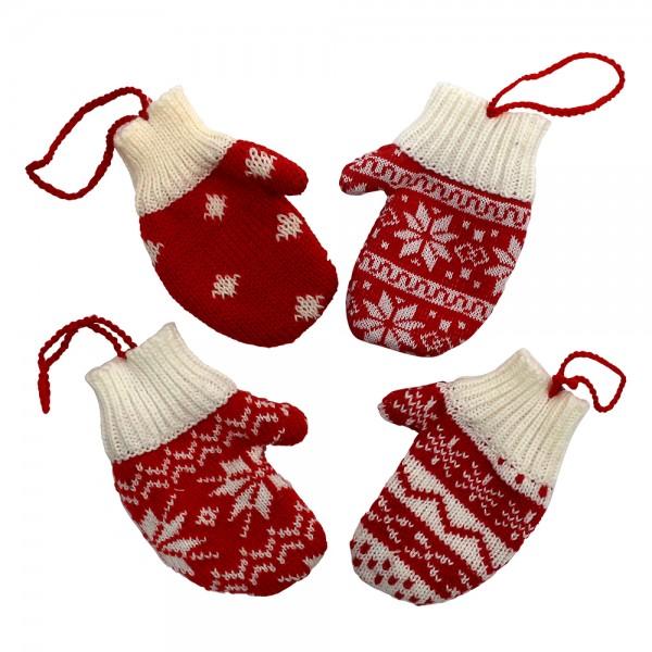 Textil Strick-Handschuhe Norweger-Design zum Anhängen 4-fach sort. 2 x 8 x 13 cm im Set
