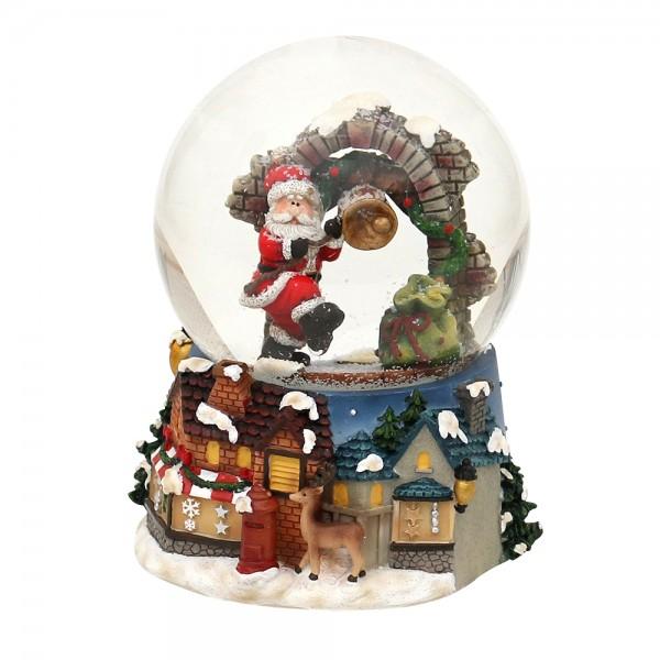 Polyresin Schneekugel Santa am Torbogen mit Glocke 11 x 11 x 14,5 cm Ø 10 cm Spielwerk Santa Claus is coming to town