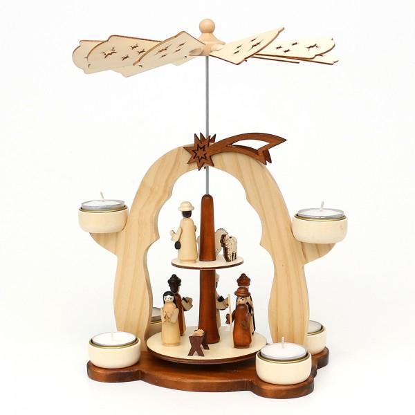 Holz Teelichtpyramide Heilige Nacht natur/braun, mit gedrechselten Krippenfiguren für 6 Teelichte 25 x 13,5 x 31 cm