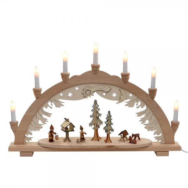 Holz Schwibbogen Vogelfütterung & Futterkrippe (Premiumholz) 57 x 9 x 38 cm 230 V Kabel, 7 flammig, SPK