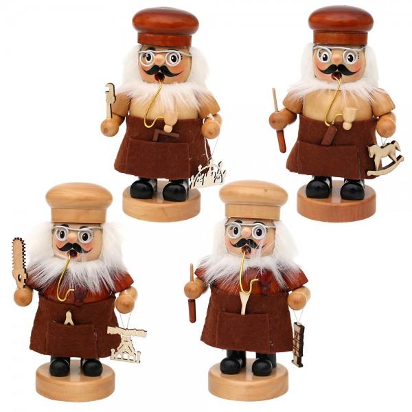 Holz Räucherfigur Handwerker 4-fach sort. 9 x 7 x 16 cm im Set