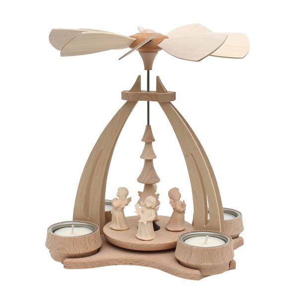Holz Tischpyramide mit 4 Engelfiguren aus Südtirol für 4 Teelichte 14 x 18 x 24 cm