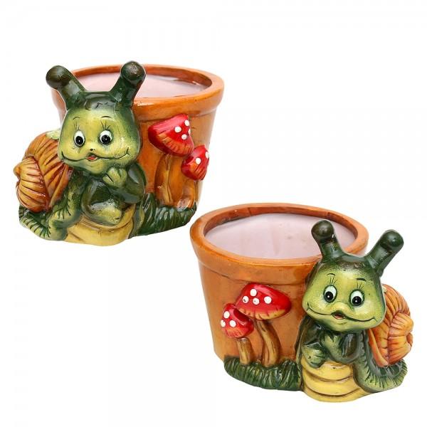 Keramik Schnecke Susi mit Pot 2-fach sort. 15 x 13 x 11 cm Ø 10 cm im Set