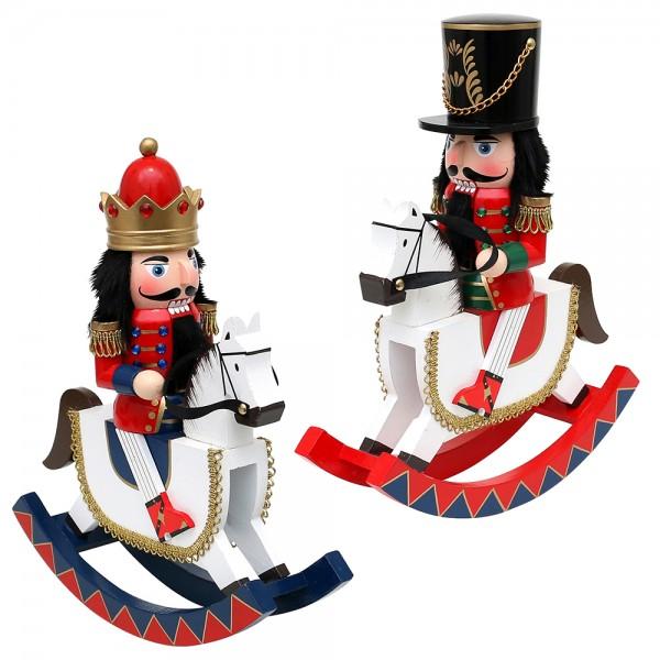 Holz Nussknacker König/Soldat auf Schaukelpferd, rot/weiß 2-fach sort. 26 x 7,5 x 30 cm im Set