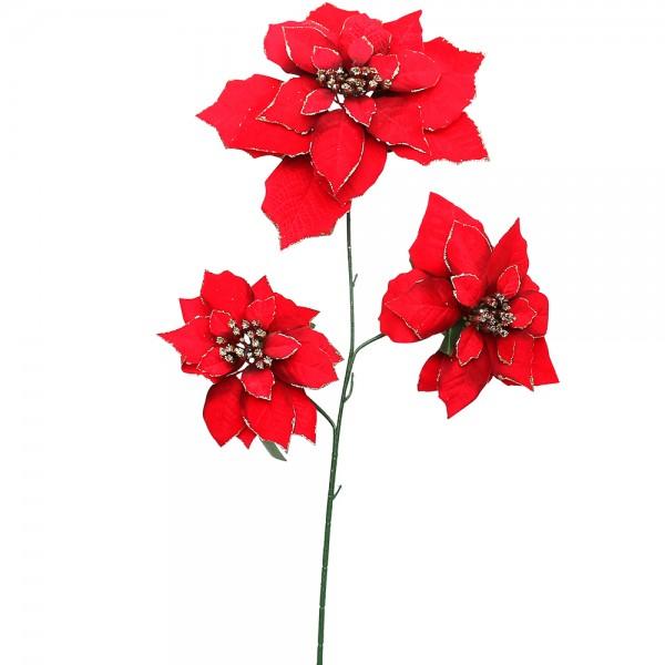 Kunststoff Weihnachts-Deko-Christsternstengel mit 3 Blüten, samt-rot/gold 25 x 70 cm