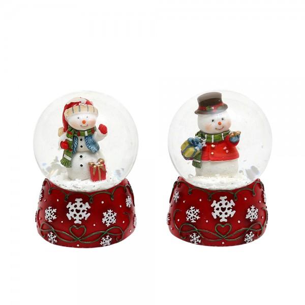 Polyresin Schneekugel Schneemann auf rotem Sockel mit Schneeflocken 2-fach sort. 4,5 x 4,5 x 6,5 cm Ø 4,5 cm im Set