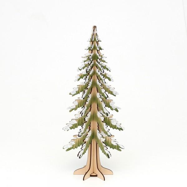 Holz Deko-Baum beschneit, (Laserholz) 12,5 x 12,5 x 30 cm