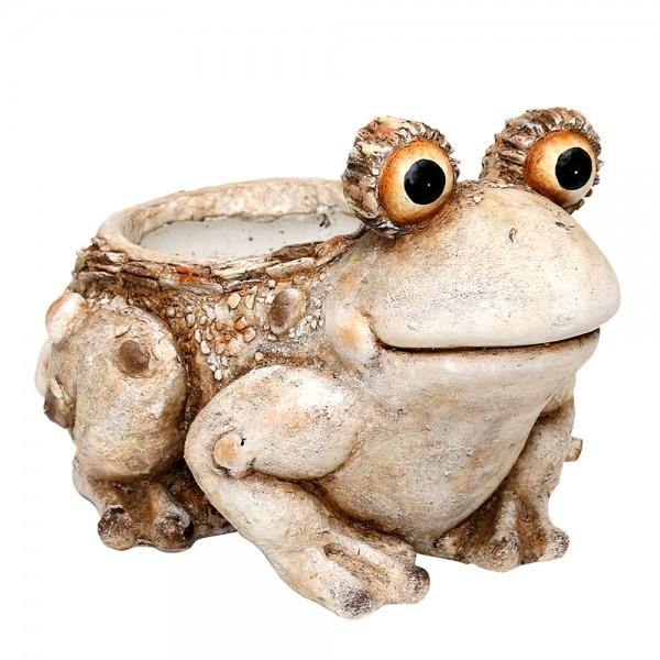 Keramik Frosch/Pflanzgefäß Steinoptik 41 x 32 x 28 cm Ø 18 cm MGO, XXL