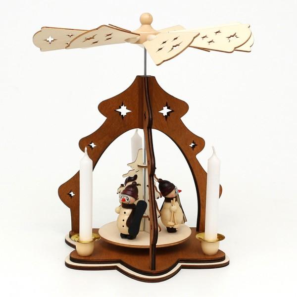 Holz Tischpyramide Baum braun, mit Schneemannfiguren (Laserholz) für 4 Pyramidenkerzen 19,5 x 19,5 x 26 cm