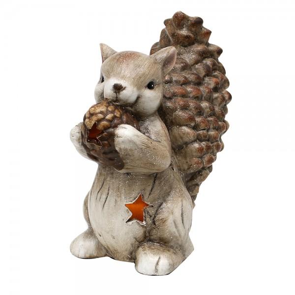 Keramik Eichhörnchen stehend beleuchtet mit Glitter und Zapfen 18 x 11,7 x 20,8 cm LED