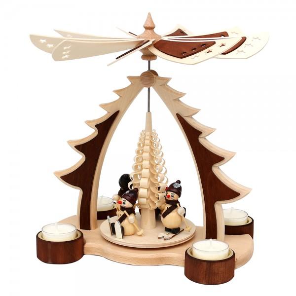 Holz Pyramide Baum Schneemänner mit Spanbaum für 4 Teelichte natur/braun und zweifarbigem Flügelrad 24,5 x 16,5 x 27,5 cm