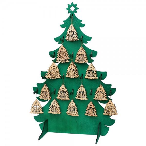 Holz Tannenbaumdisplay mit 15 Holz-Haken für Baumbehang, grün (*Abb. o. Deko) 44 x 22 x 68 cm