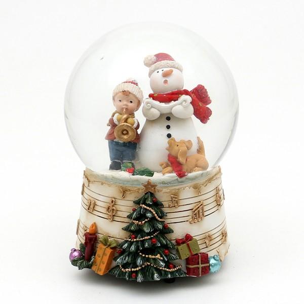 Polyresin Schneekugel singender Schneemann mit Kind auf Sockel mit Musiknoten 10 x 10,5 x 14,5 cm Ø 10 cm Spielwerk Oh du Fröhliche