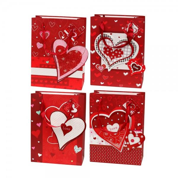 Papier Tragetasche Herzensangelegenheit mit Glitter 4-fach sort. 18 x 8 x 24 cm 3D im Set
