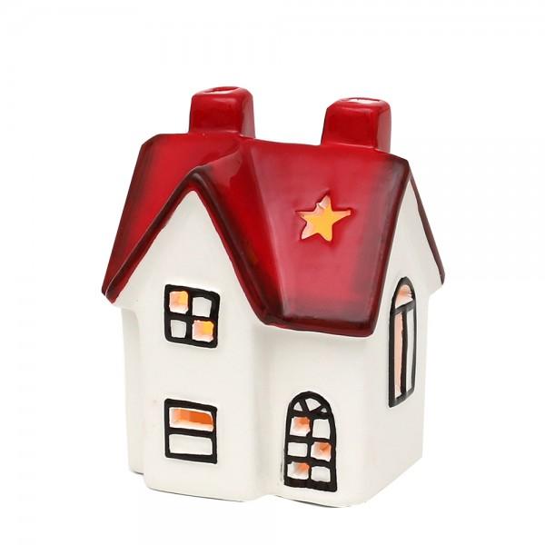 Dolomite Windlichthaus weiß/rot glasiert 7,6 x 6,4 x 10 cm