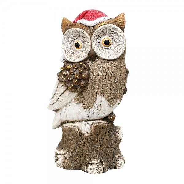 Keramik Eule mit Weihnachtsmütze auf Baumstumpf 18 x 16 x 34,5 cm MGO