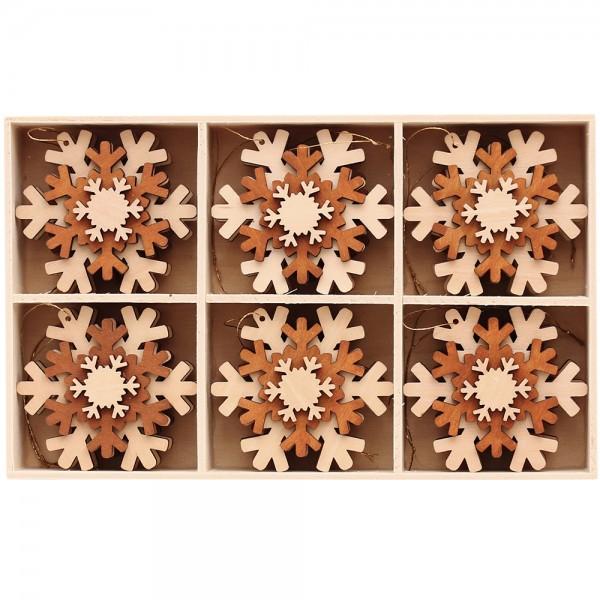 12er Set Holz Anhänger 3D-Schneeflocke 2-farbig natur/braun (Laser) 6 x 6 cm