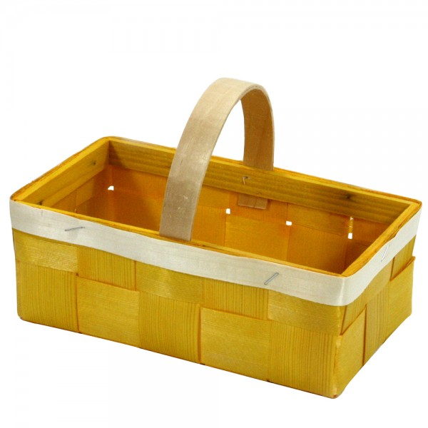Holz Oster-Spankorb eckig mit Henkel, gelb 22 x 12 x 16 cm