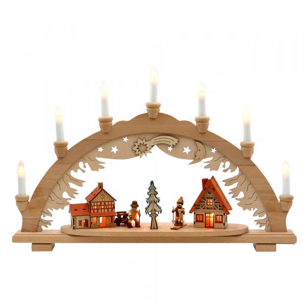 Holz Schwibbogen Walddorf Holzleute (Premiumholz) 57 x 9 x 38 cm 230 V Kabel, 10 flammig, SPK